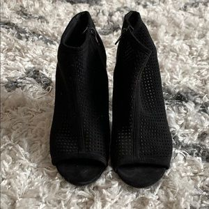 Bar III Megan Fabric Peep-Toe Booties Black 9.5